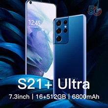Global Version 7.3 Inch Smartphone S21+Uitra 16G +512G ROM 6800mAh Large Battery Android Full Display Dual SIM 4G/5G Call Phone