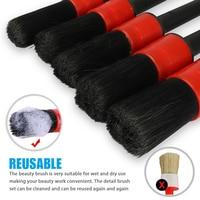 Waxing Sponge Car Detailing Brush Kit Boar Hair Vehicle Auto Engine Wheel Clean Brushes Car Wash Accessories 4