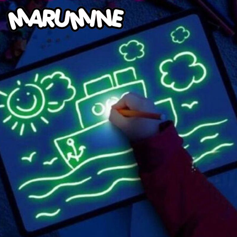 A3 A4 A5 LED Luminous Drawing Board Draw With Light-Fun Sketchpad Board Fluorescent Pen Russian English Light Up Draw Toys