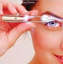 1pc LED Tweezer 속눈썹 눈썹 눈 헤어 리무버 도구 스테인레스 스틸 눈썹 족집게 아름다움