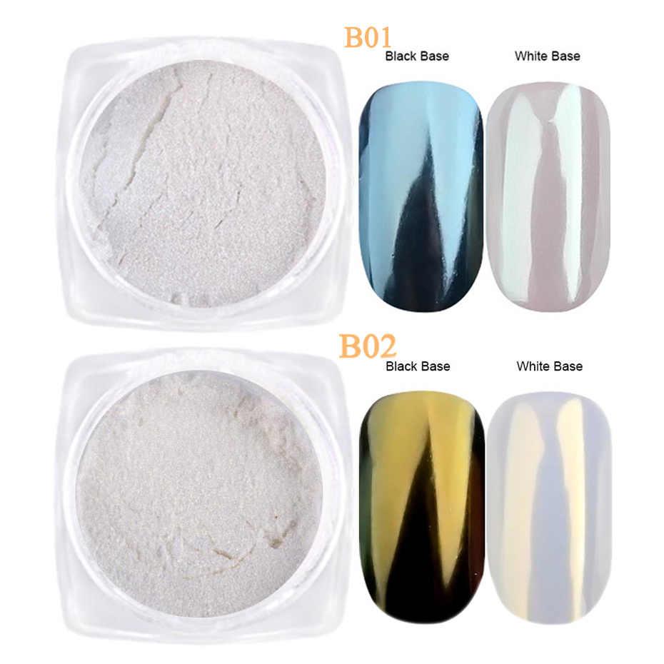 1G Pearl Powderเล็บGlitterเมอร์เมดผลChrome Pigment UV GEL Shimmer DIPฝุ่นDIYเล็บdecor LAB01-07-2