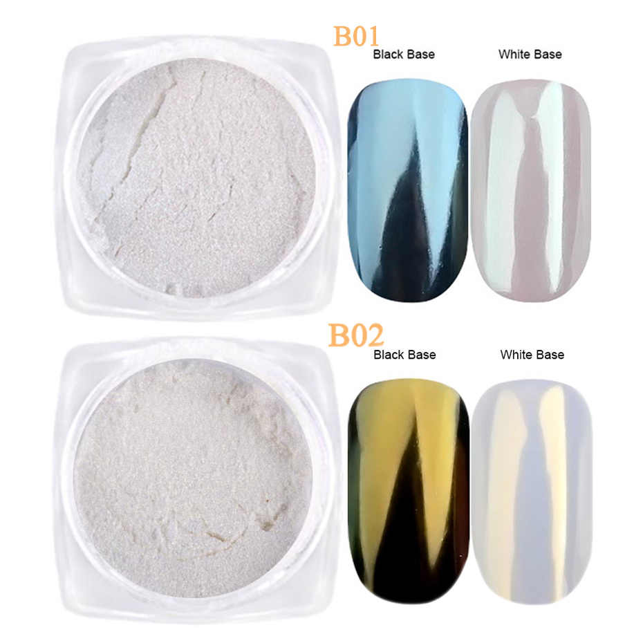 1g 진주 가루 네일 아트 반짝이 거울 인어 효과 크롬 안료 UV 젤 폴란드어 쉬머 딥 먼지 DIY 손톱 장식 LAB01-07-2