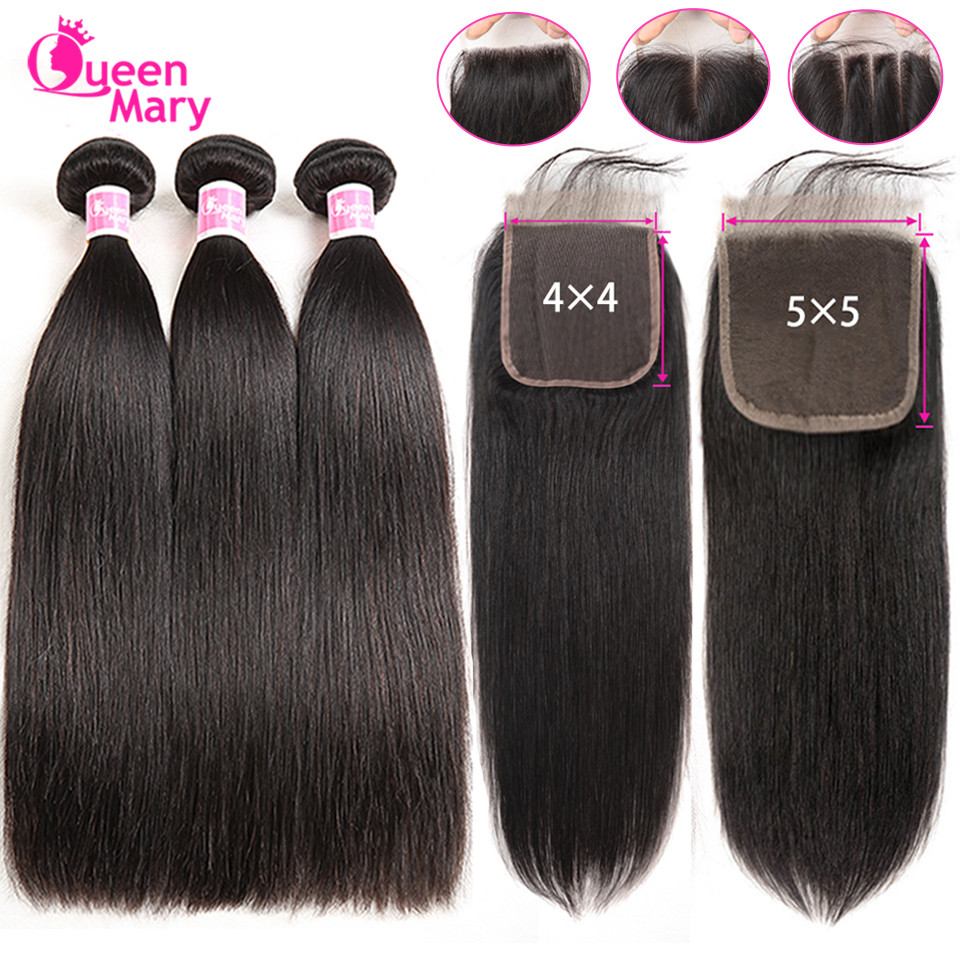 Brazilian Straight Hair Bundles With Closure 3 Bundles With Closure Human Hair Bundles With Closure Queen Mary Non-Remy Hair