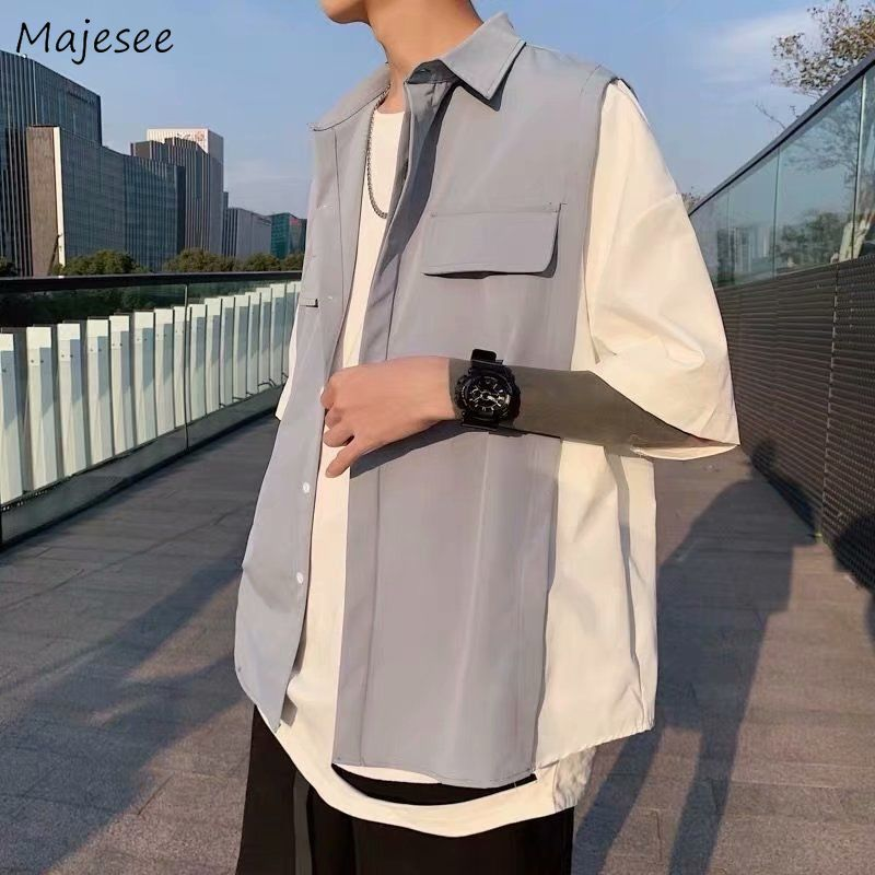 Men Shirts Patchwork Fake 2 Pieces Casual Loose Single Breasted Streetwear Hip-hop Harajuku Chic Mens Tops Trendy All-match New