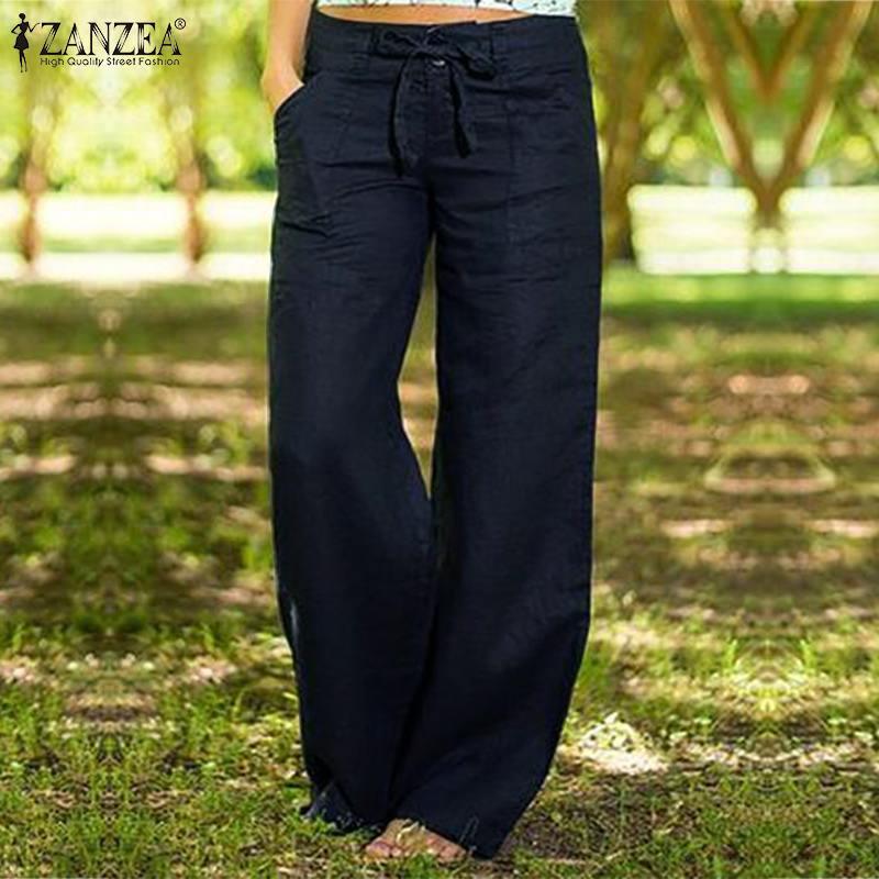 2019 ZANZEA Women Autumn Pants Wide Leg Trousers Elegant Button Long Pant Plus Size Turnip Lace Up Pantalon Zip Palazzo Oversize