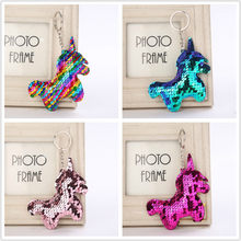 1PCS Sequin Unicorn Key Chain Party Favors Gifts Family Friend Baby Souvenirs Birthday Valentines Day Gift Festive Party Event(China)