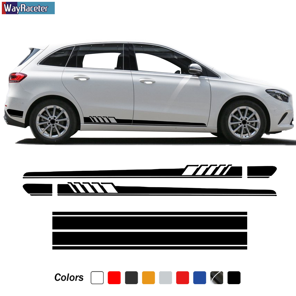 4 Pcs Door Side Stripes Skirt Sticker Body Vinyl Edition 1 Car Hood Decal For <font><b>Mercedes</b></font> Benz B Class <font><b>W246</b></font> W247 <font><b>B180</b></font> Accessories image