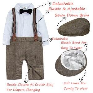 Image 2 - Neugeborenen Baby Jungen Kleidung Set Säuglings Gentleman Outfit Baby Formale Strumpf Overalls Herbst Winter Lange Hülsenspielanzug 3PCS