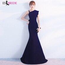 цена на Dark Blue Evening Dresses Long ES2989-1 One Shoulder Simple Satin Holiday Celebrity Prom Fashion Style Evening Dresses Long 2019