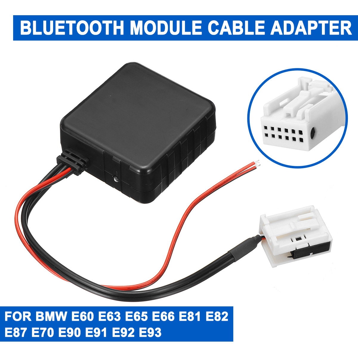 For <font><b>BMW</b></font> E60-E66 E70 E82 E87 E90 E92 12V <font><b>Car</b></font> <font><b>bluetooth</b></font> 5.0 Module AUX Cable Adapter Audio Radio Stereo AUX-IN Plastic image