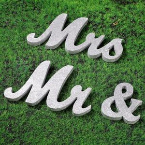 Image 3 - Houten Bruiloft Decoratie Letters Alfabet Woord Mr & Mrs Vrijstaande Wedding Party Decoratie Vintage Tafel Centrepie Decor