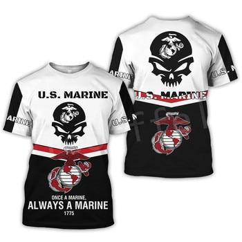 Tessffel America Marine Camo Skull Soldier Army NewFashion Casual 3DPrint Unisex Summer Funny T-Shirt Short Sleeve Men/Women B-1 1