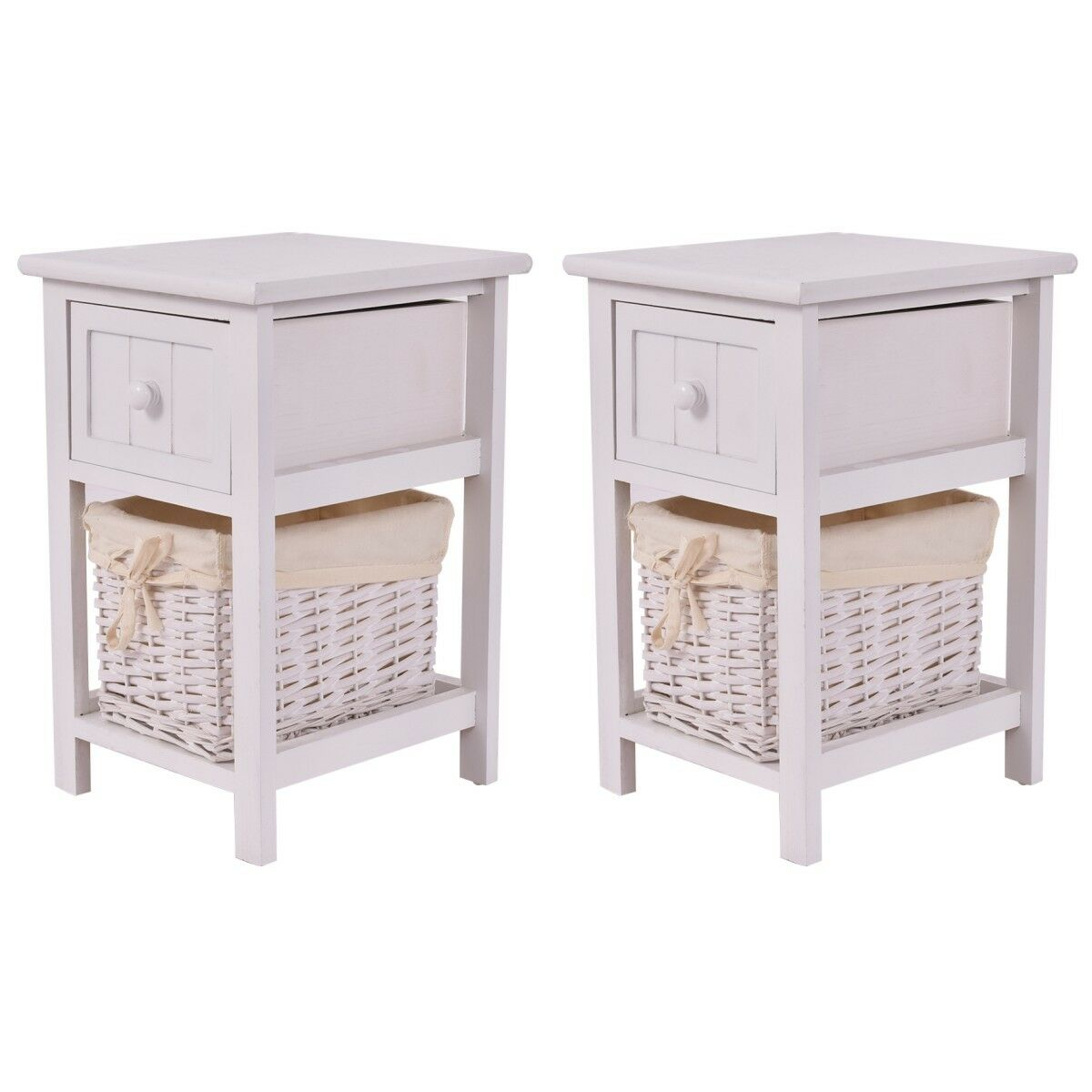 Costway Set Of 2 Mini Night Stand 2 Layer 1 Drawer Bedside End Table Organizer Wood W/Basket