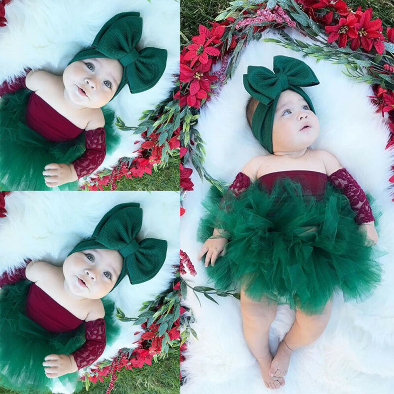 Cute Christmas Baby Girl Clothing Set New Year Newborn Infant Girl Lace Off Shoulder Tops Green Tutu Skirts Xmas Outfits
