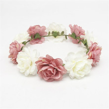 Bride Women Flower Crown Hair Band Wedding Floral Headband Garland Ribbon Girl Accessories Y826