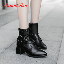 цена на ANMAIRON 2019 Shoes Woman Basic Pointed Toe Zip PU Ankle Boots for Women Square Heel Short Plush Winter Boots Women  Size 34-43