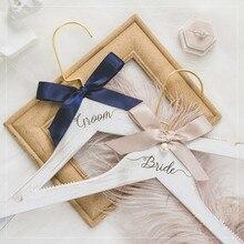 Moreyes Жених и невеста свадебные на заказ вешалка для одежды белая твердая древесина Гравировка Логотип свадебное платье diy