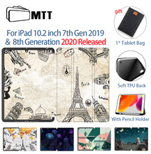 MTT Case For iPad 10.2 inch 7th 8th Generation With Pencil Holder Soft TPU+PU Leather Fold Flip Smart funda Tablet Case a2198