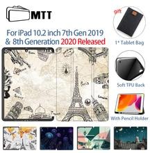 Mtt Case Voor Ipad 10.2 Inch 7th 8th Generatie Met Potlood Houder Soft Tpu + Pu Leather Fold Flip Smart funda Tablet Case A2198