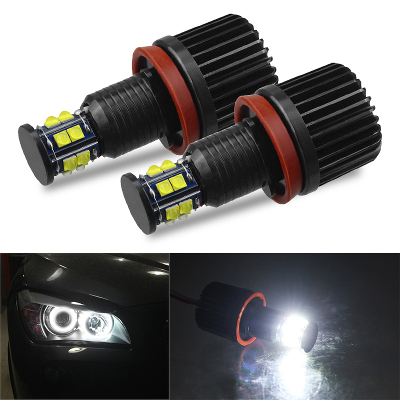 DERI 2pcs 120W H8 LED Angel Eyes Halo Ring Lights Bulb 6500K Led Marker Lights Canbus For BMW E92 E93 E63 E70 X5 X6 Headlight