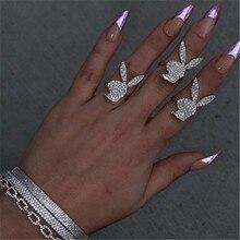 Tianzhe jóias nova moda 2021 tendência anel hippop rua rock playboy coelho micro-incrustado zircão anel aberto presente do feriado