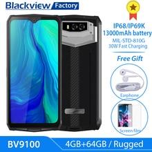 "Blackview BV9100 13000mAh 견고한 30W 고속 충전 6.3 ""FHD 4GB + 64GB 16.0MP 휴대 전화 Octa Core 안드로이드 9.0 NFC 스마트 폰"