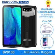"""Blackview BV9100 13000mAh Rugged 30W Fast Charge 6.3""""FHD 4GB+64GB 16.0MP Mobile Phone Octa Core Android 9.0 NFC Smartphone"""