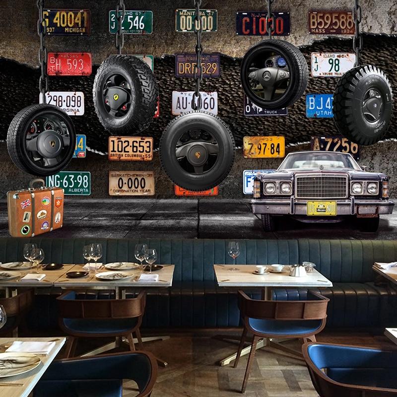 Custom Any Size Mural Wallpaper 3D Retro License Plate Tyre Cement Wall Fresco KTV Bar Restaurant Background Wall Decor Tapety
