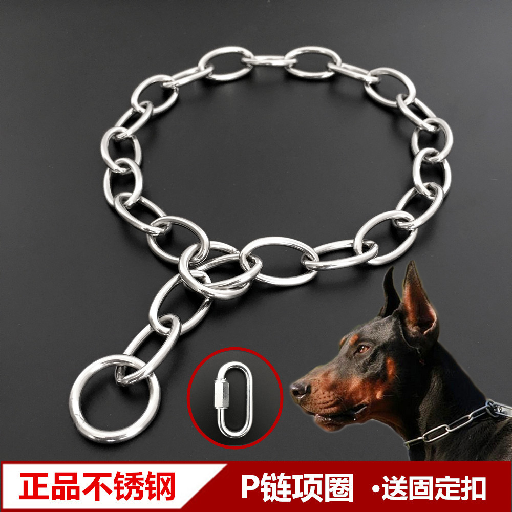 Stainless Steel P Pendant Hand Holding Rope Neck Ring Dog Chain Small Medium Large Dog Golden Retriever Pet Training Collar Pend