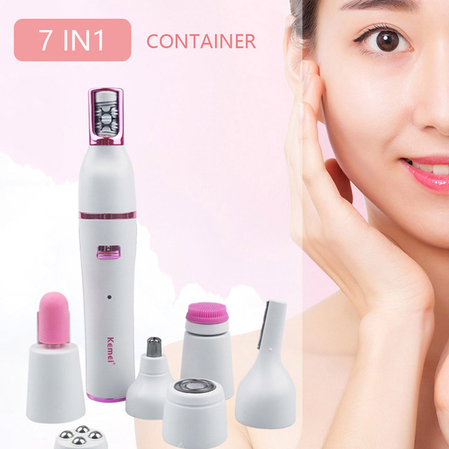 KEMEI Electric Eyebrow Shaver 7 In 1 Portable USB Rechargeable Massage Hair Removal Epilator Ladies-Razor Nose Hair Trimmer
