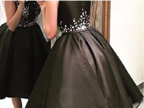 Black Homecoming Dresses Tea Length Beads Satin Hi Lo Asymmetrical Cocktail Party Dress Lady Formal Gowns Abiye Gece Elbisesi 1