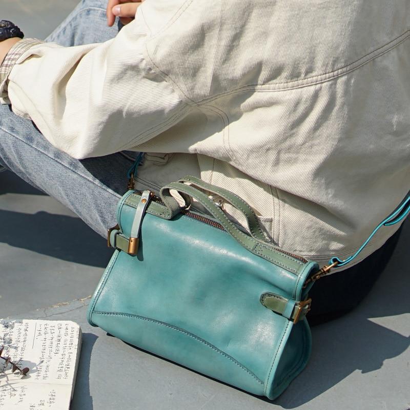 2020 Spring Vintage Designer Real Genuine Leather Handbag Woman Small Shoulder Crossbody Bags Luxury Tote Women Messenger Bag