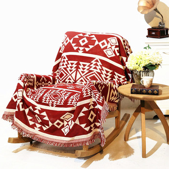 Geometric patterns vintage leisure blanket coarse cotton bed cover sofa towel living room Felts Double-sided tapestry Carpet