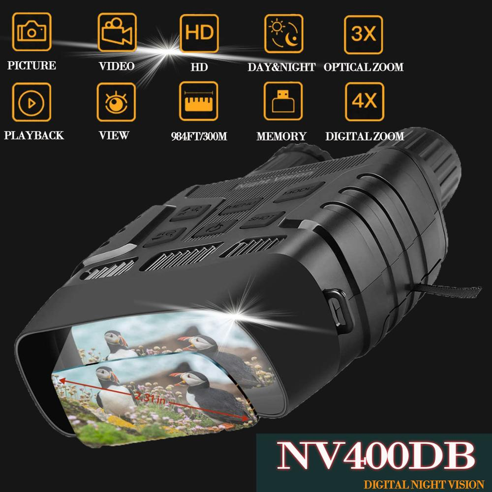 NV400DB HD Digital Night Vision Binoculars with LCD Screen Infrared  IR  Camera Take Photo Video from 300m Night Hunting Goggles