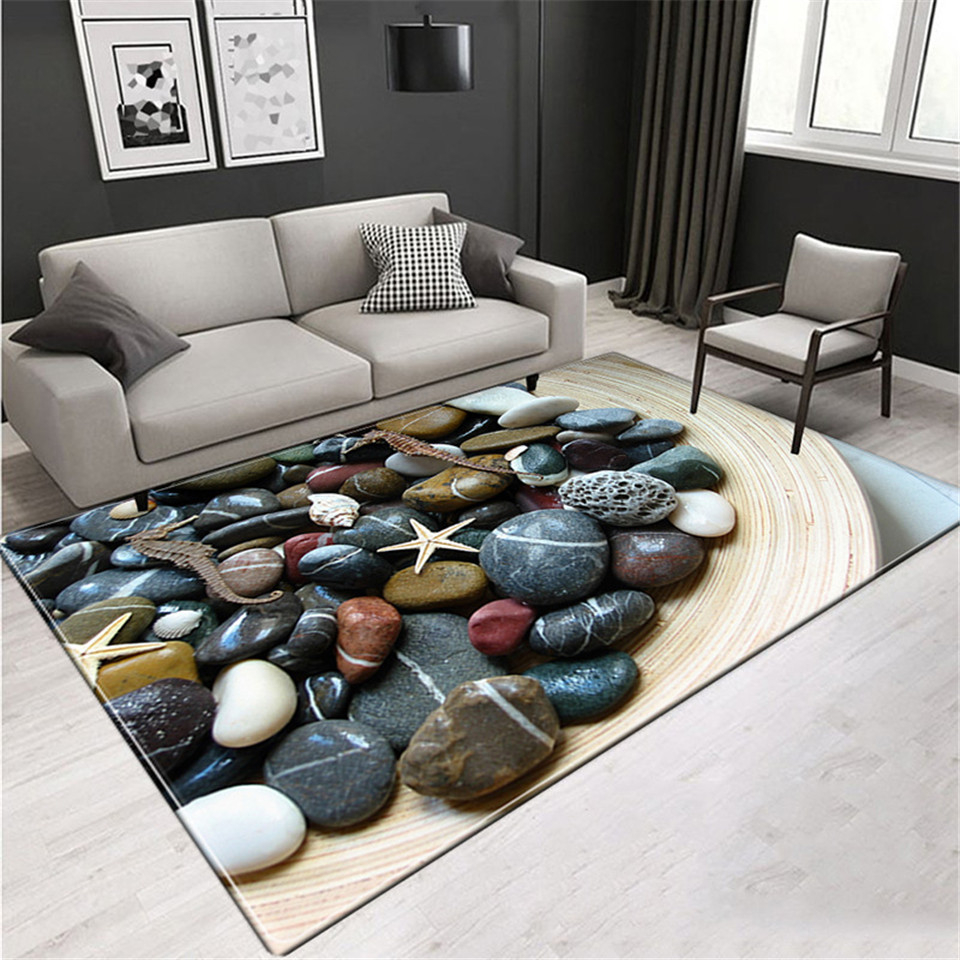 3D Stone Printed Rug Large Living Room Thicken Washable Anti-slip Carpet Home Entrance Hall Room Decor Cosiness Carpet