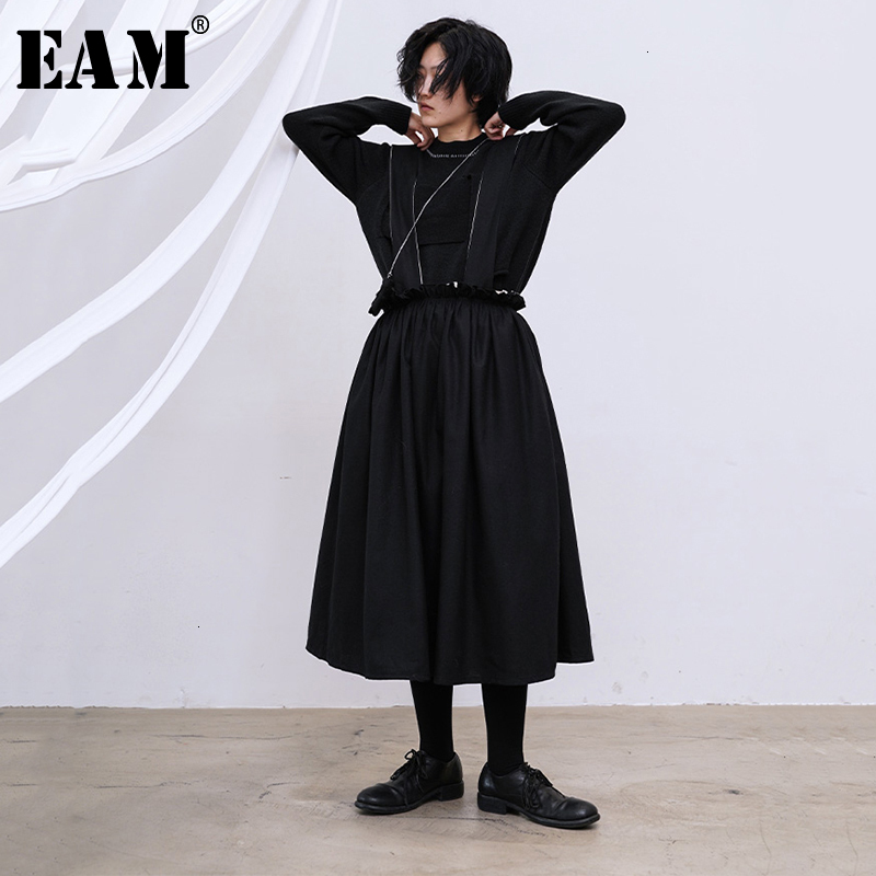 [EAM] High Elastic Waist Black Double Layers Ruffles Split Half-body Skirt Women Fashion Tide New Spring Autumn 2020 1M746