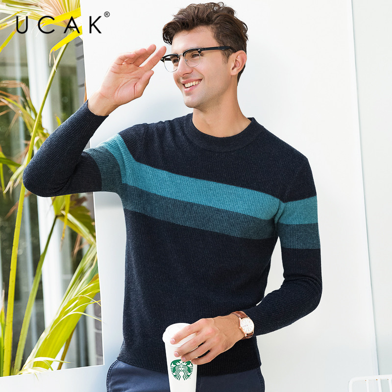 UCAK Brand 100% Merino Wool Sweater Men Fashion Casual O-Neck Pullover Men Autumn Winter Warm Cashmere Sweaters Pull Homme U3071