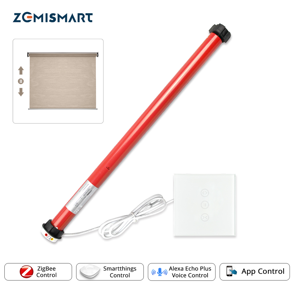 Zigbee Roller Shade Motor With Switch SmartThings Control Electirc Blind 25mm Tubular Engine For 38mm Tube