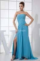 free Shipping 2018 New sweet Chiffon Corset Sexy Night Club Wear Sequin open leg sexy blue Beading Prom gown bridesmaid dresses