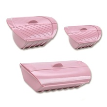 Kitchen Gadgets Microwave Oven Silicone Steamer Fish-Bowl Pink with Lid-Color 3pcs Creative