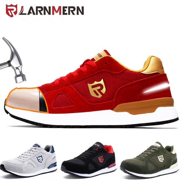 LARNMERN Mens Work Safety Shoes Steel Toe Construction Sneaker Breathable Lightweight Anti-smashing Anti-static Non-slip shoe
