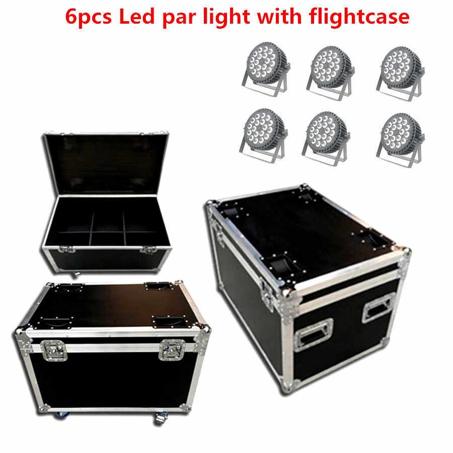 6X Lampu PAR LED dengan Flightcase 18X18 W Rgbwa UV 6in1 RGBW 4in1 LED Cuci Lampu LED Flat par Bisa Tahap Lampu Strobo LED