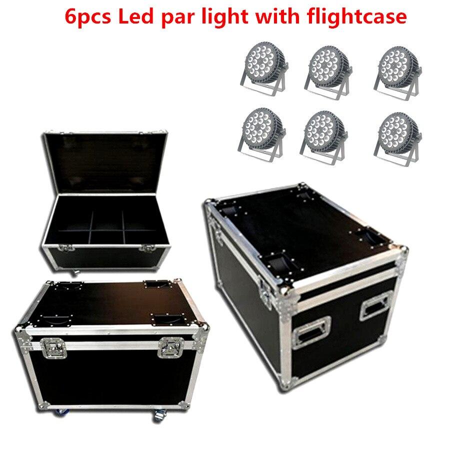 Işıklar ve Aydınlatma'ten Sahne Aydınlatması Efekti'de 6X Led par ışık ile flightcase 18x18W RGBWA UV 6in1 rgbw 4in1 led yıkama ışıkları LED düz par Can sahne aydınlatma led flaş
