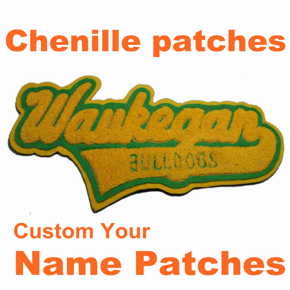 Colorful Custom Chenille Patches Letters Patches For Hoodie Stick-on Backing