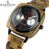 BOBO BIRD Relogio Masculino Classic Square Dial Wood Watch Men Wristwatch Date Week Display Timepiece Customized logo U-S06