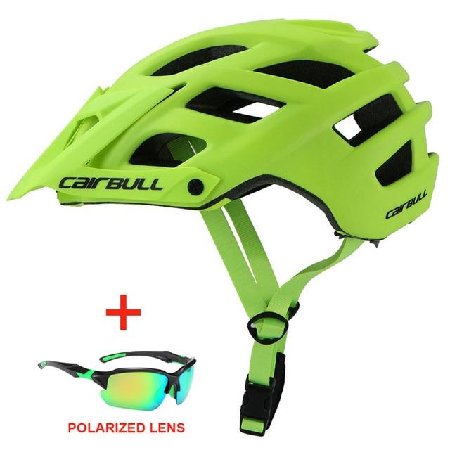 Capacete de bicicleta com óculos de sol integralmente-moldado estrada da bicicleta mtb capacete das mulheres dos homens esportes ao ar livre equitação ciclismo capacete 1