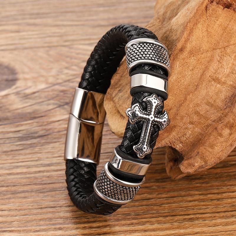 Bracelets croisés en acier inoxydable pour hommes, Bracelet Chakra en cuir noir/Brwon tressé multicouche, à la mode, vente en gros 4