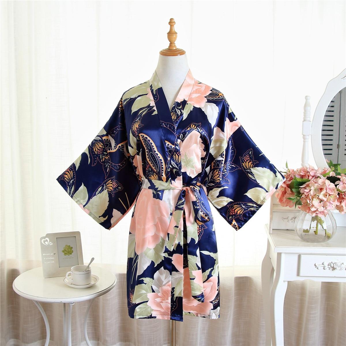 New Big Peony Flower Silk Wedding Dress Bridesmaid Bride Kimono Cardigan Dress Thin Women Summer Sleepwear Bathrobe Yukata New