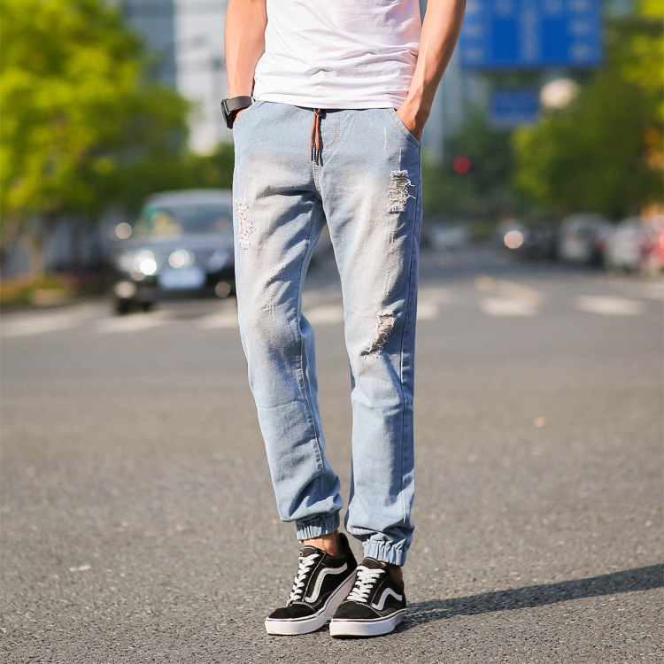 Japanese-style Fashion Man Cat Whisker With Holes Jeans Men's Lace-up Elastic Waist Skinny Ankle Banded Pants Slim Fit Capri Pan