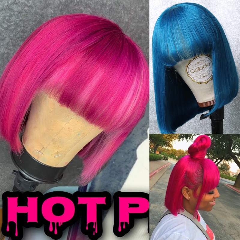 Sapphrie Brazilian Straight Hair Pink Bob Human Hair Wigs 613 Blonde Blue Red Green Short Bob Wigs For Black Women Remy Hair